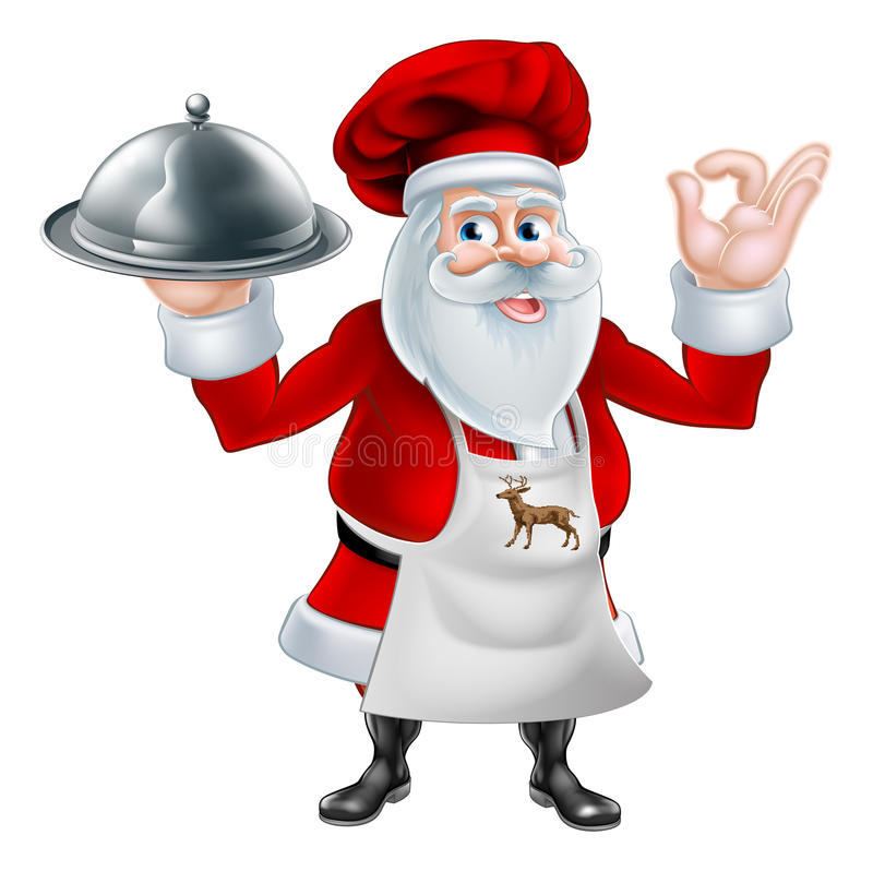 Jul Santa Cook Chef stock illustrationer