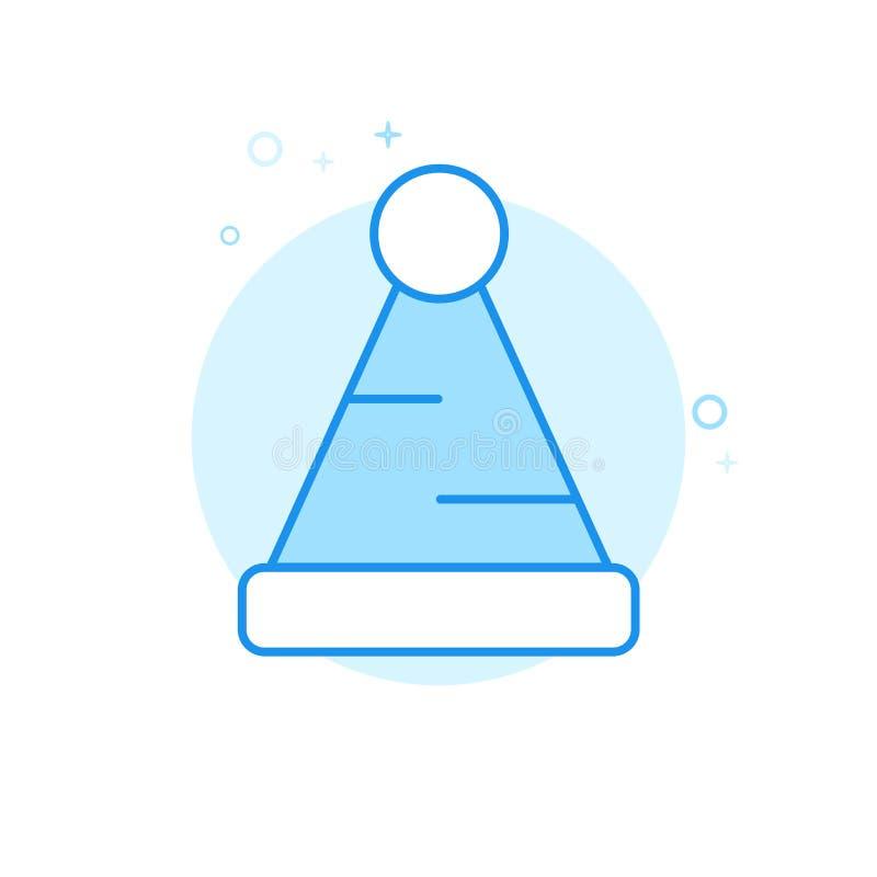 Jul Santa Hat Flat Vector Icon, symbol, Pictogram, tecken Ljust - blå monokrom design Redigerbar slaglängd stock illustrationer