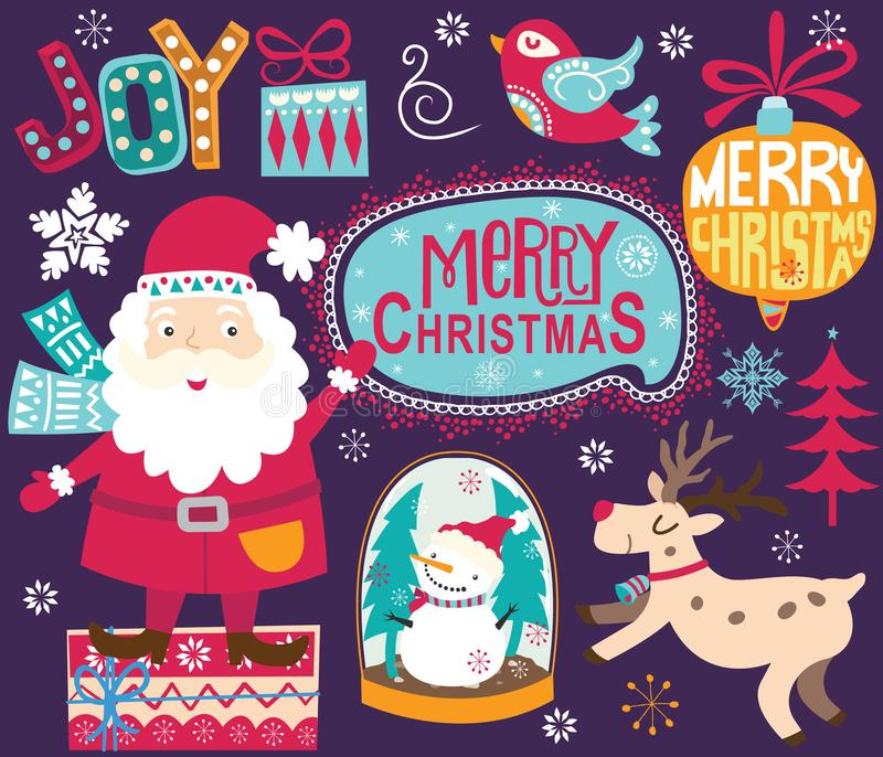 Jul Santa Ornaments Collections royaltyfri illustrationer