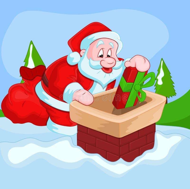 Jul Santa Vector Illustration vektor illustrationer