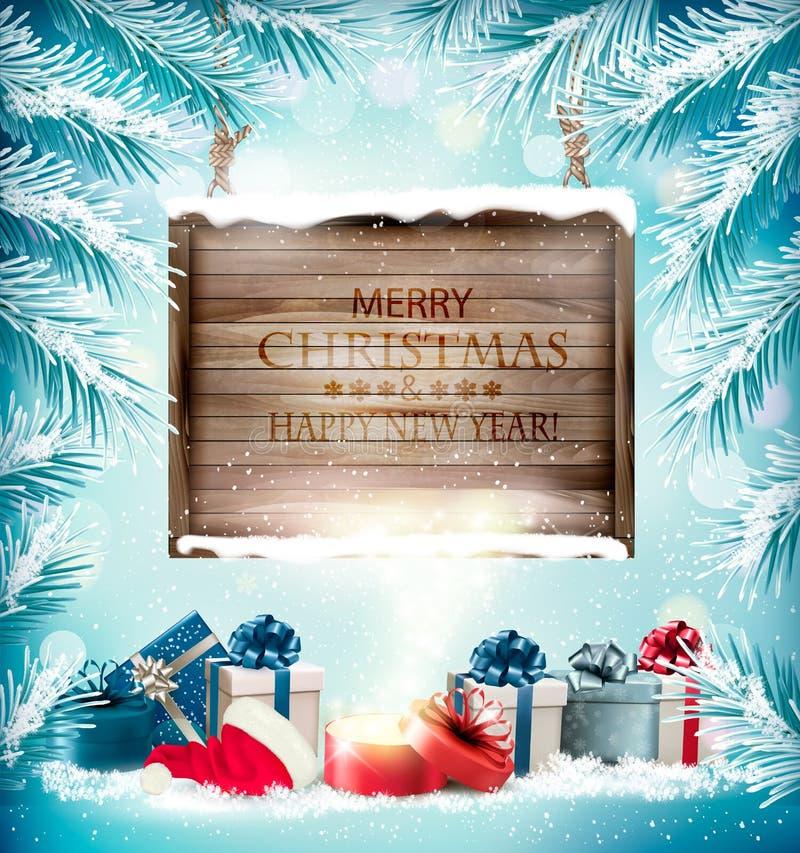 Jul semestrar bakgrund med gåvaaskar och den magiska asken royaltyfri illustrationer