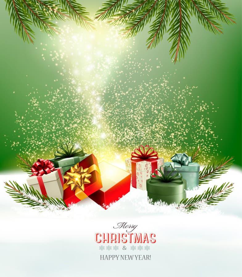 Jul semestrar bakgrund med gåvor och den magiska asken vektor illustrationer