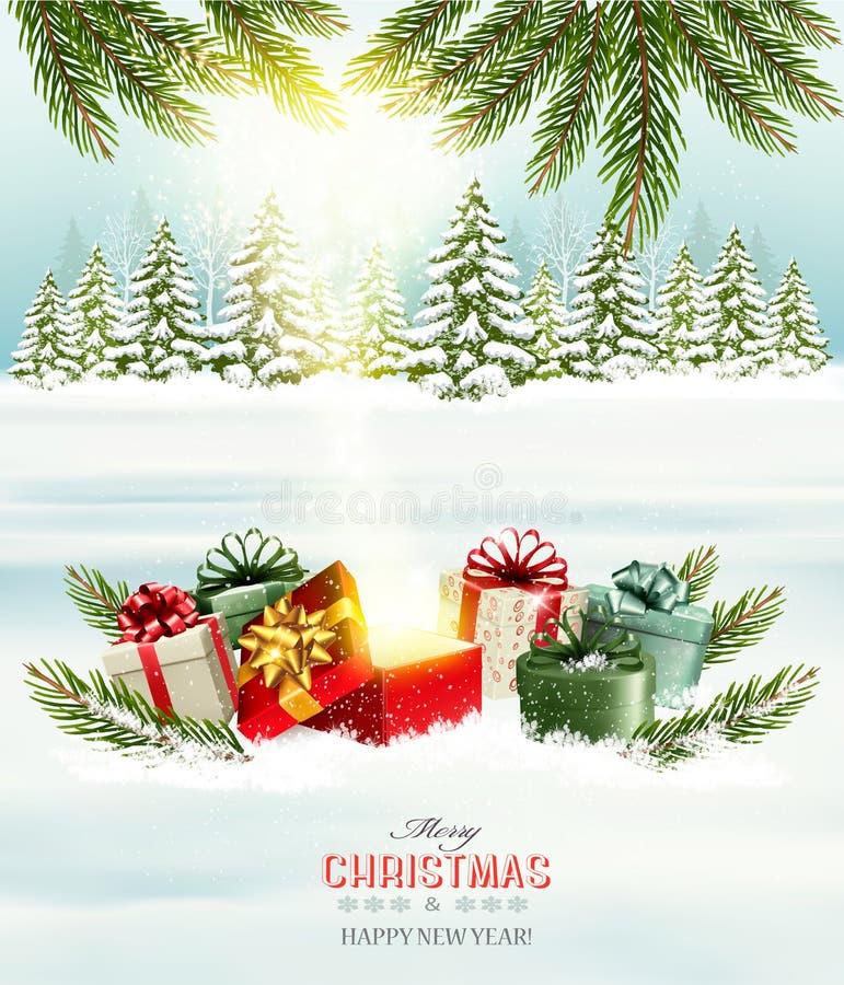Jul semestrar bakgrund med gåvor och den magiska asken stock illustrationer