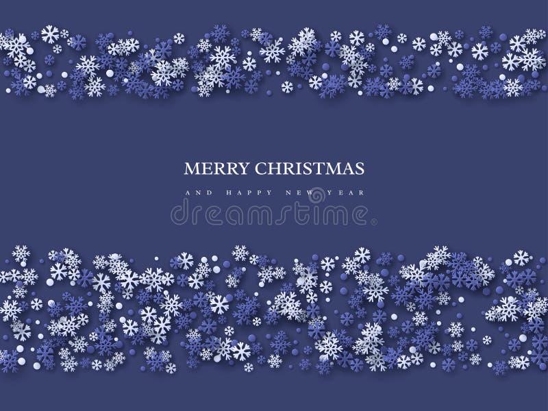 Jul semestrar design med snöflingor för papperssnittstil Mörker - blå bakgrund med hälsningtext, vektorillustration stock illustrationer