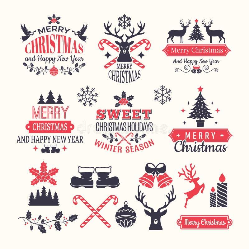 Jul semestrar etiketter Emblem och logoer med olika beståndsdelar för vektor för nytt år för snö och ställe för tappningvinter fö royaltyfri illustrationer