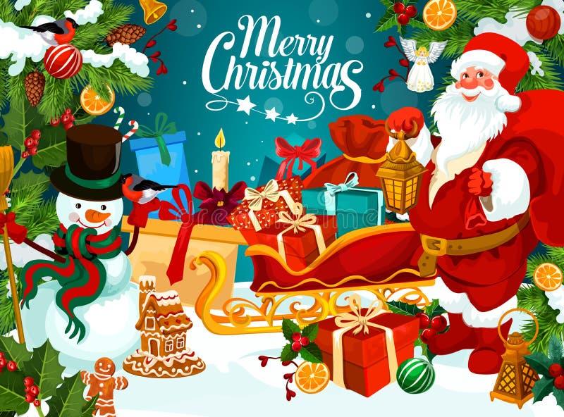 Jul semestrar hälsningkortet med gåvan för det nya året royaltyfri illustrationer