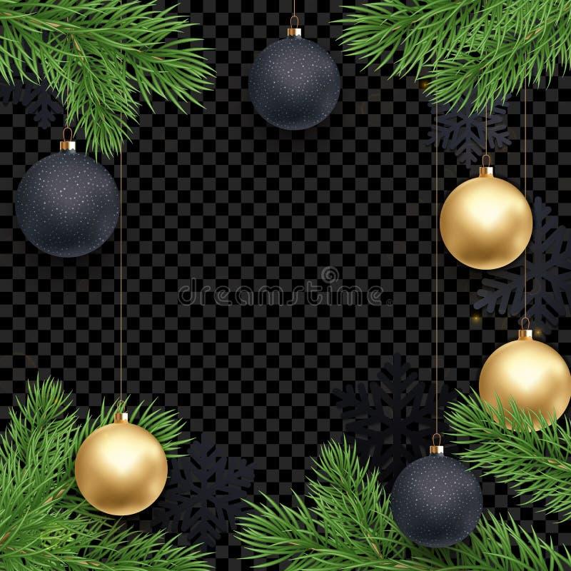 Jul semestrar mallen för bakgrund för hälsningkortet av guld- bollgarneringar på julgranfilialer Gl för guld för nytt år för vekt royaltyfri illustrationer