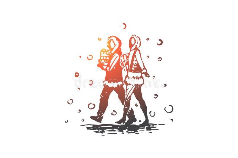 Jul shopping, man, kvinna, gåvabegrepp Hand dragen isolerad vektor vektor illustrationer