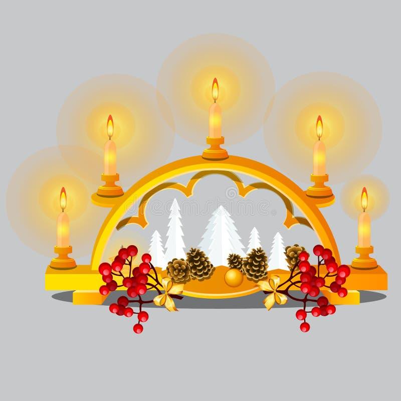 Jul skissar med brinnande stearinljus i guld- stearinljushållare med festliga garneringar och struntsaker i orientalisk stil royaltyfri illustrationer
