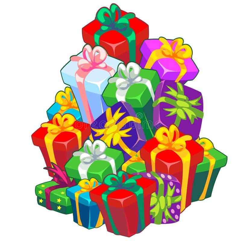 Jul skissar med en bunt av gåvaaskar som binds med bandet med en pilbåge Prövkopia av affischen, inbjudan och annan vektor illustrationer