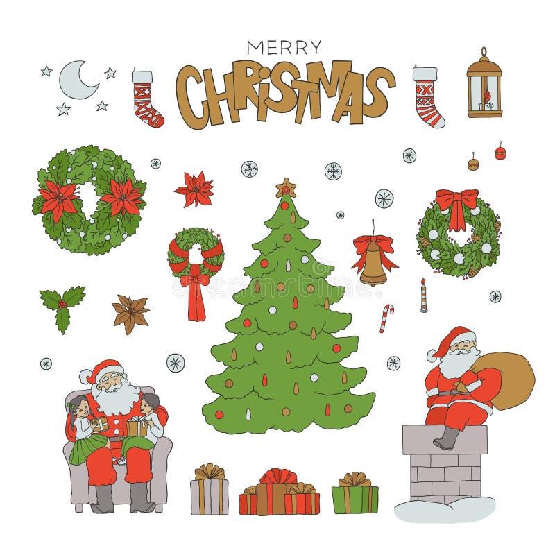 Jul skissar symboler för uppsättningSanta Claus ferie Sockor för tecken och för gåva för vektorgranträd, ask med band hälsning vektor illustrationer