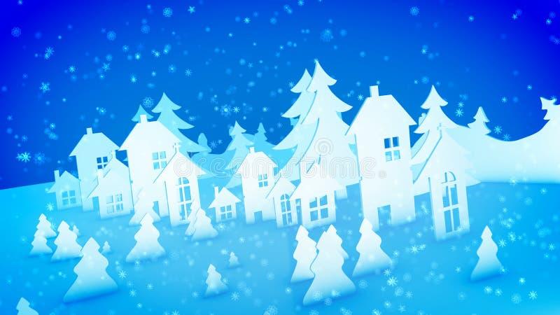 Jul skyler över brister byggnader och mousserasnö royaltyfri illustrationer