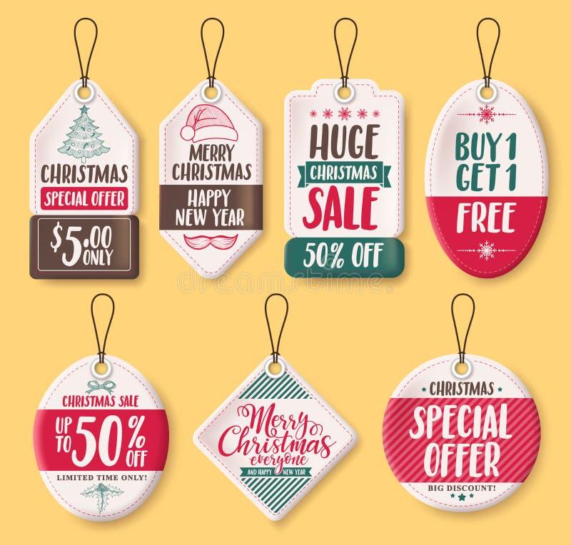 Jul skyler över brister uppsättningen för försäljningsetikettsvektorn med rabatttext som specialt erbjudande vektor illustrationer