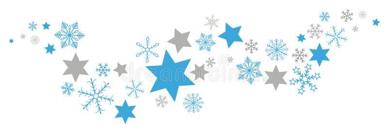 Jul slösar Gray Snowflakes Stars Flat Banner royaltyfri illustrationer