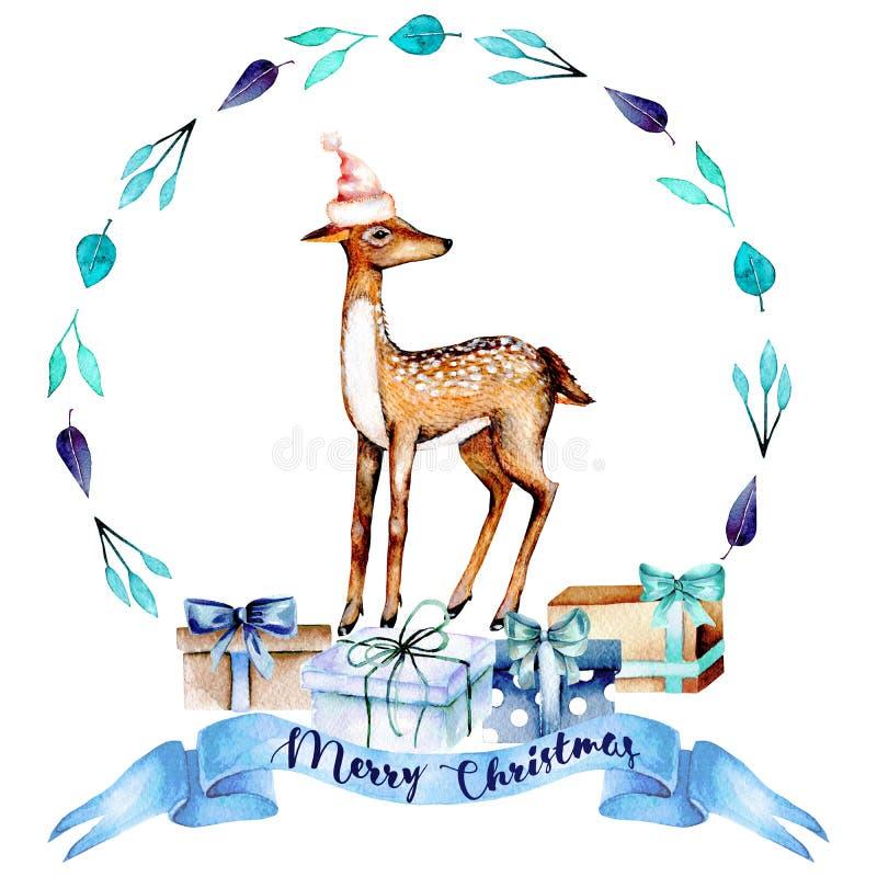 Jul slösar kransen med vattenfärghjortar och gåvaaskar stock illustrationer