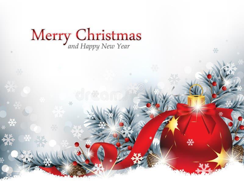 Jul smyckar i snön vektor illustrationer