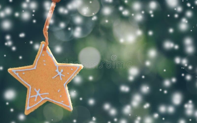 Jul smyckar stjärnan som hänger med naturbokehbakgrund royaltyfria bilder