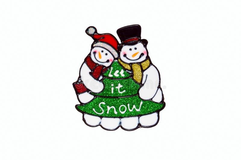 Jul - snögubbe- och trädfönsterstencil fotografering för bildbyråer