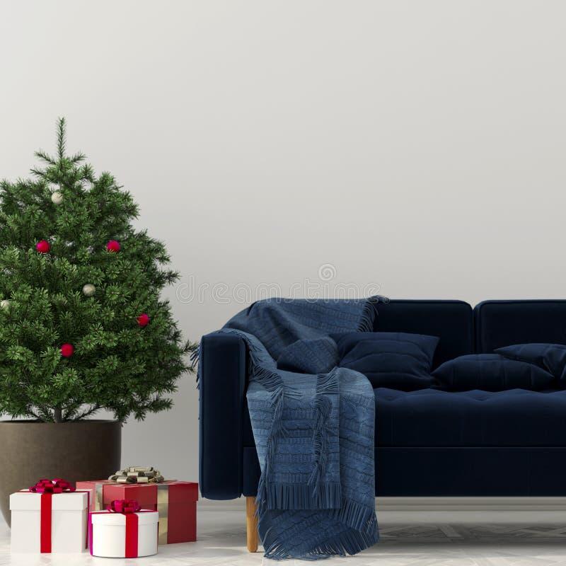 Jul som är inre med en blå soffa stock illustrationer