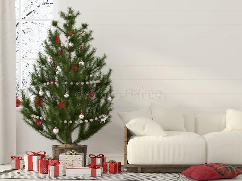 Jul som är inre med en vit soffa vektor illustrationer
