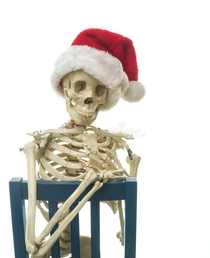 Jul som är skelett- med Santa hattSitting royaltyfri fotografi