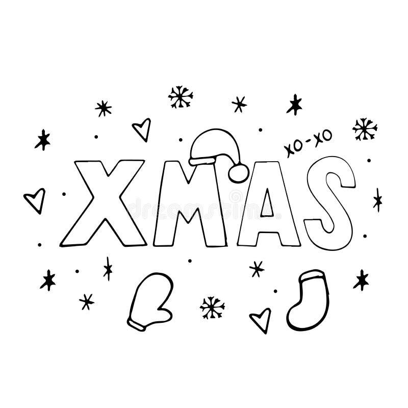 Jul som är typografisk på Xmas-bakgrund med vinterlandskapet med snöflingor, hjort, jultomten hatt, händer Glad julkort stock illustrationer