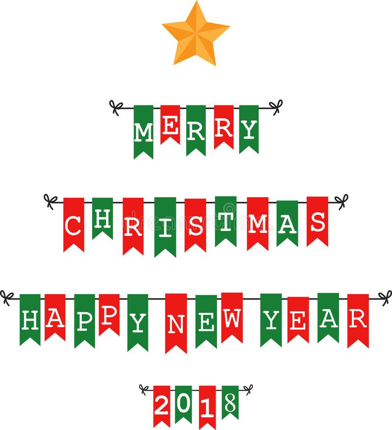 Jul som bunting flaggor royaltyfri illustrationer