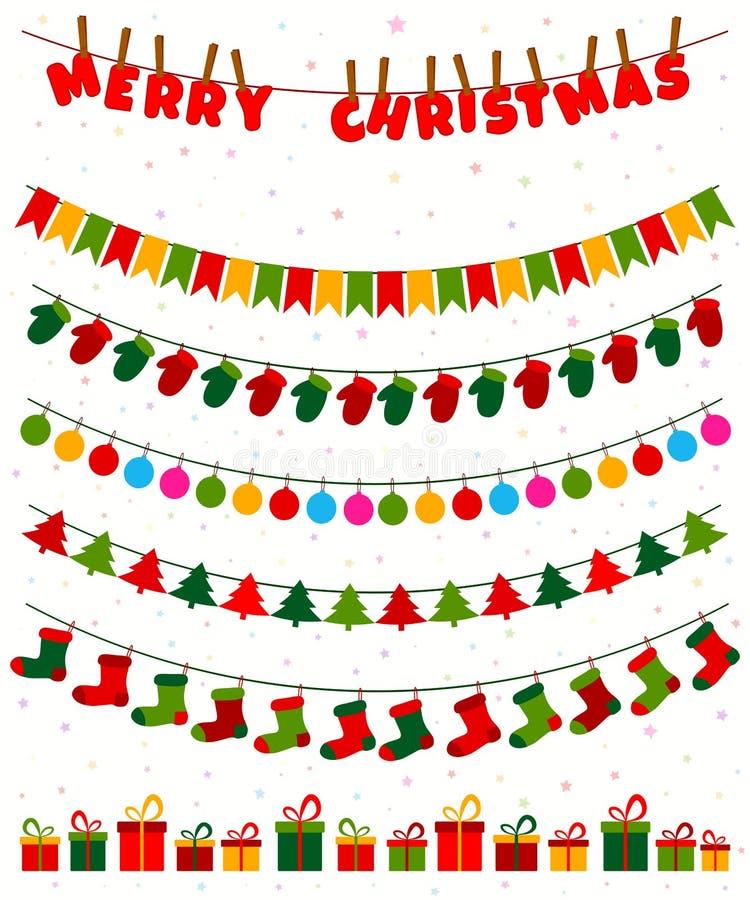 Jul som bunting vektorn stock illustrationer