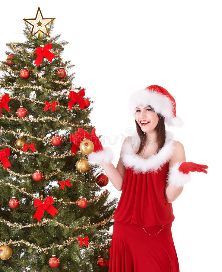 jul som decoreting den flickahattsanta treen royaltyfri bild
