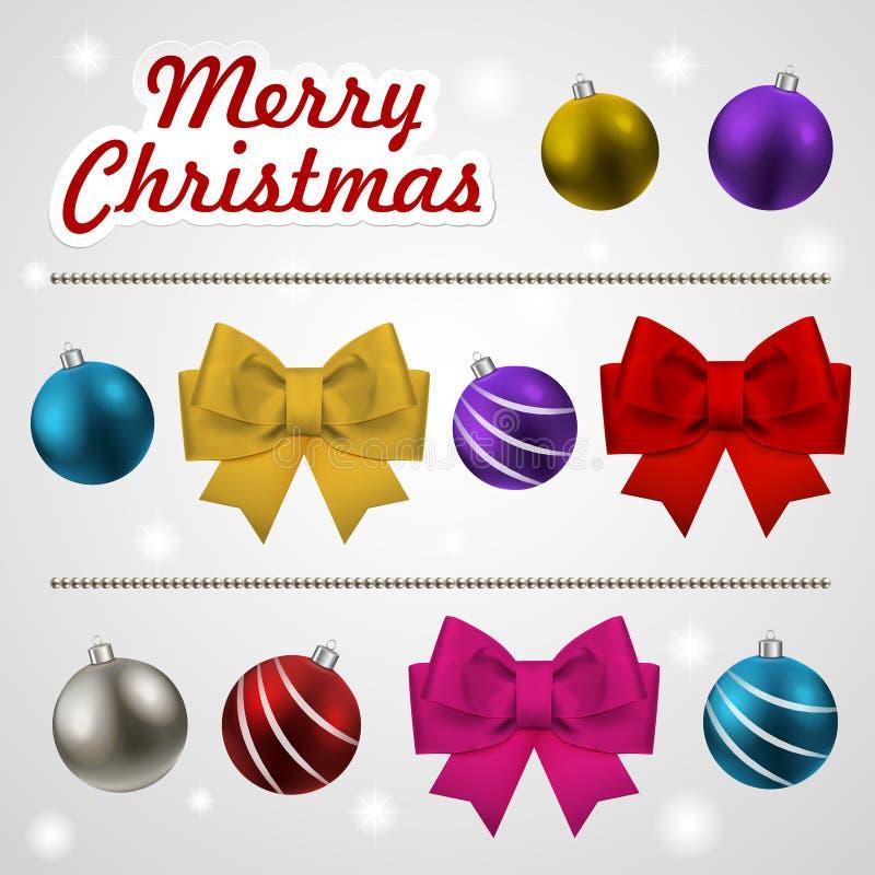Jul som dekorerar beståndsdeluppsättningen royaltyfri illustrationer