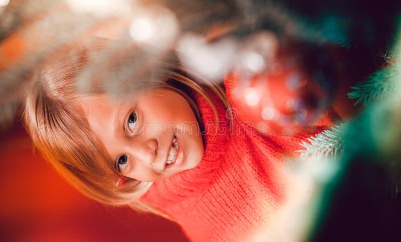 jul som dekorerar stamträd arkivfoto