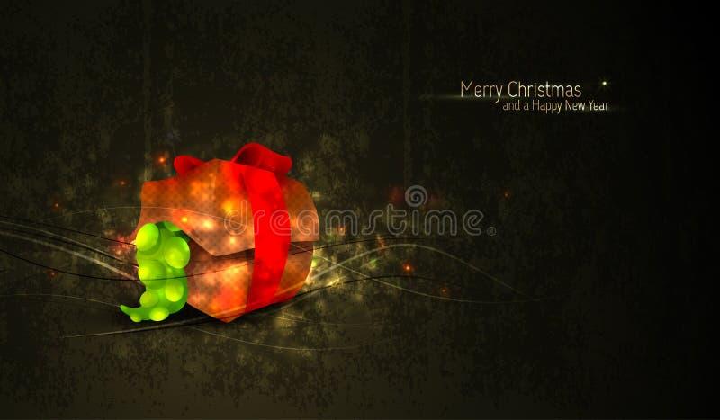 Jul som Greeting med den unika gåvaasken vektor illustrationer