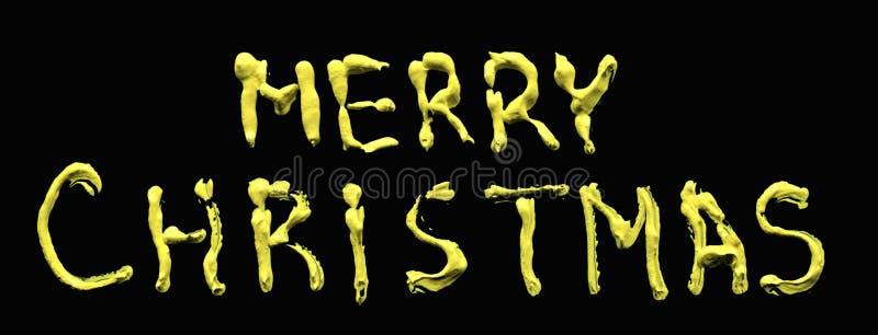 Jul som hälsar bokstäver Olje- målning på exponeringsglaset som isoleras på svart bakgrund Beskåda framifrån Beskåda framifrån vo vektor illustrationer