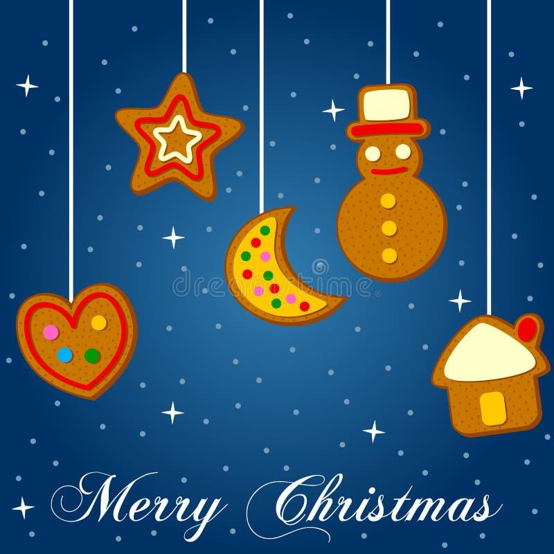 Jul som hänger kakor på blått stock illustrationer