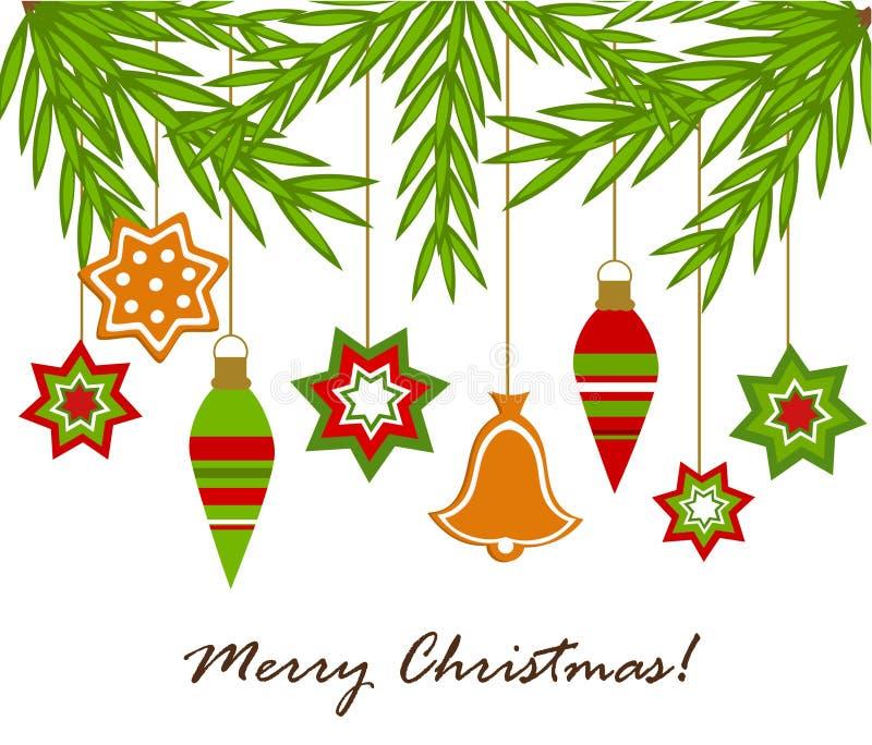 jul som hänger prydnadar royaltyfri illustrationer
