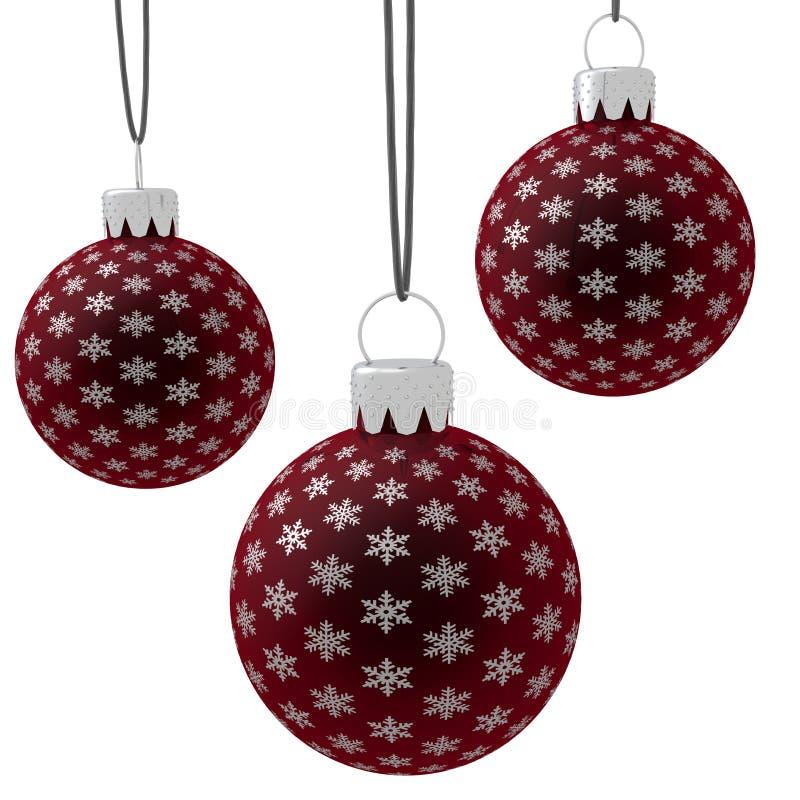 jul som hänger röda isolerade prydnadar stock illustrationer