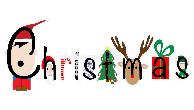 Jul som illustreras med feriesymboler vektor illustrationer