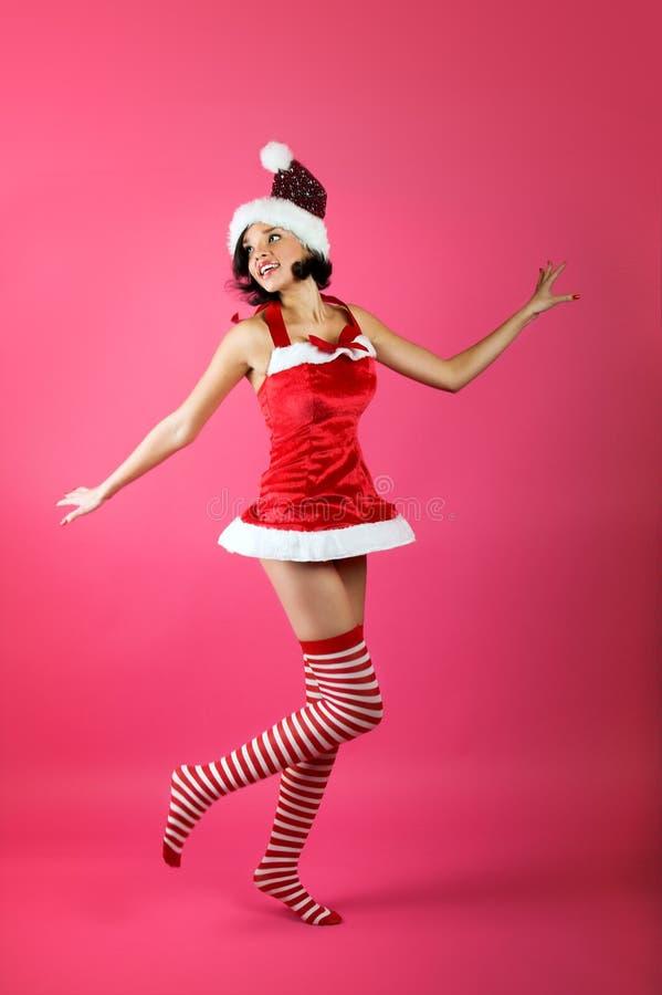 jul som ler kvinnan arkivfoton