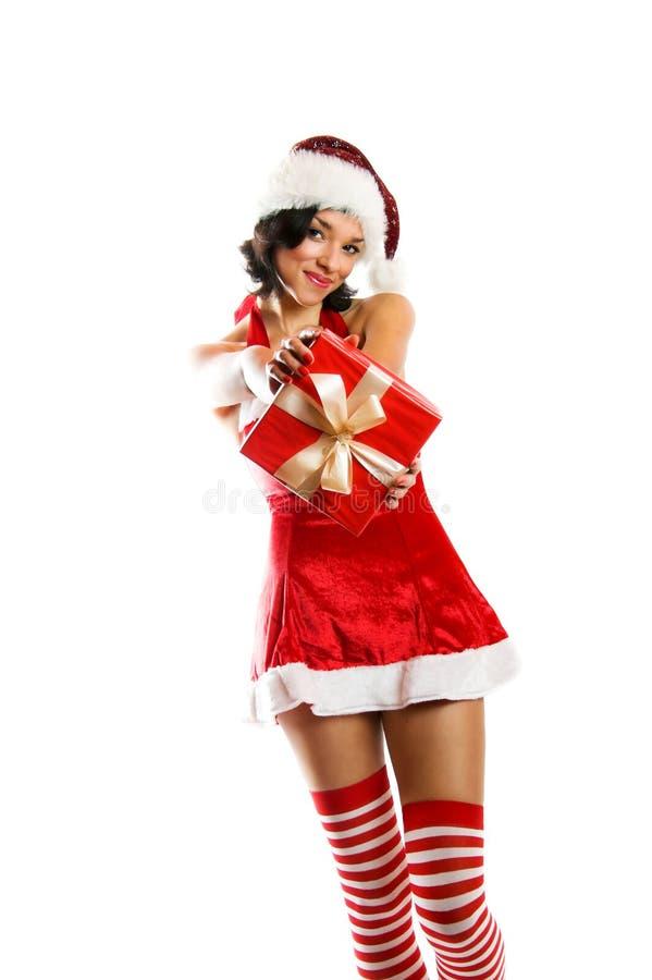 jul som ler kvinnan royaltyfri foto