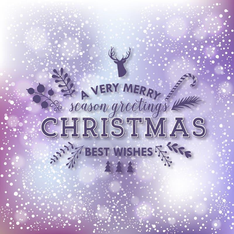 Jul som märker design på bokeh, tänder bakgrund Kort för vinterferier vektor illustrationer