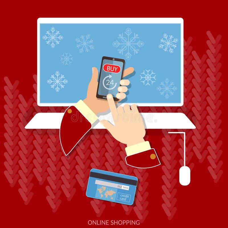 Jul som nu shoppar begrepp för snöflingae-kommers köp royaltyfri illustrationer
