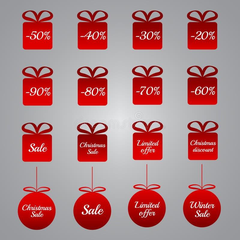 Jul som prissätter etiketter - röda gåva- och struntsakformer royaltyfri illustrationer