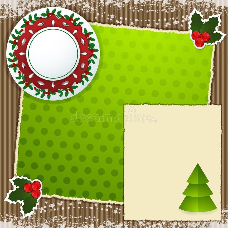 Jul som scrapbooking bakgrund royaltyfri illustrationer