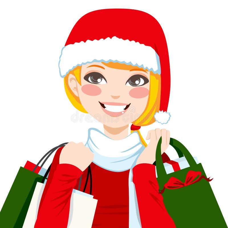 Jul som shoppar blondin vektor illustrationer
