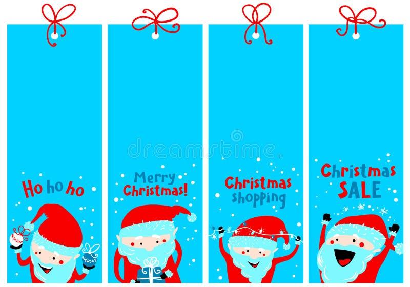 Jul som shoppar etiketter med Santa Claus vinter för vektor för etiketter för set för etiketter för färgillustration stock illustrationer