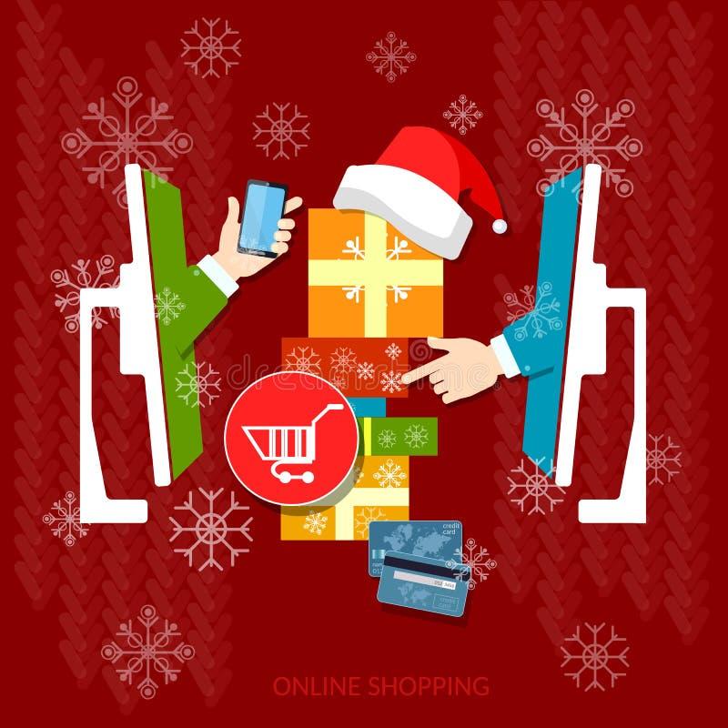 Jul som shoppar ferieförsäljningsonline-lagret stock illustrationer