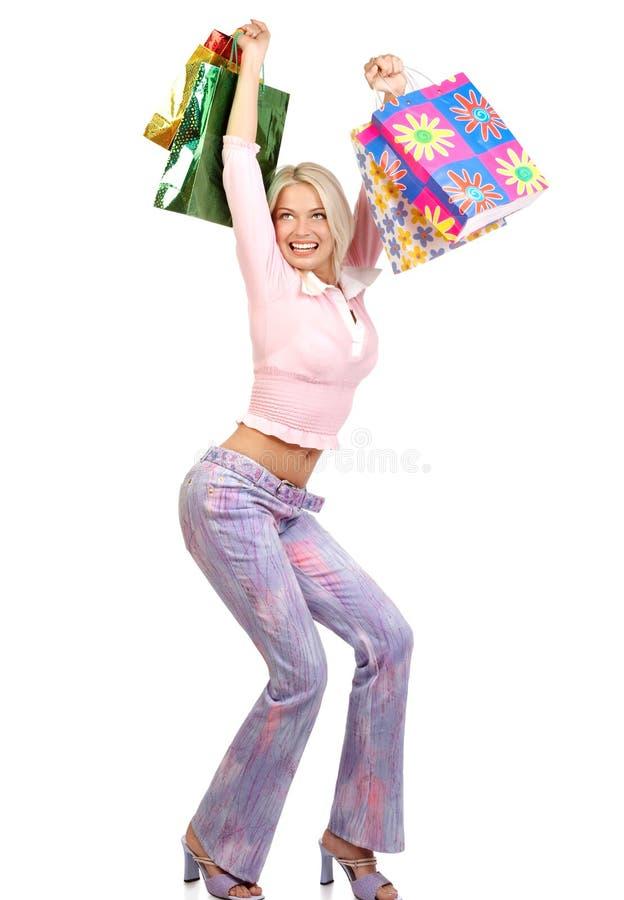 jul som shoppar kvinnan royaltyfri bild