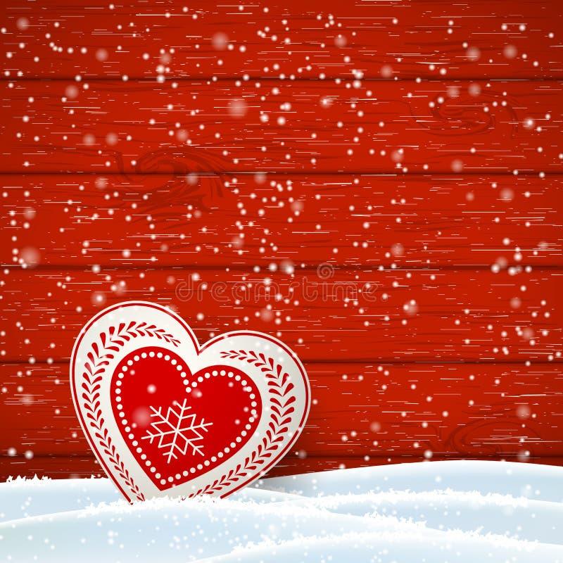 Jul som var rörelse- i scandinavian stil, rött och vit, dekorerade hjärta framme av träväggen, illustration royaltyfri illustrationer