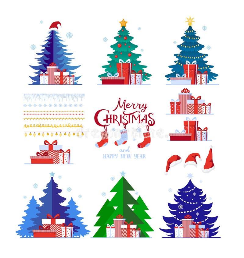 Jul ställde in av dekorativa vinterobjekt, julgranar, gåvaaskar, girlander, sockor som isolerades på en vit bakgrund stock illustrationer