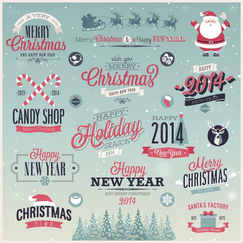 Jul ställde in - etiketter, emblem och annan decorati royaltyfri illustrationer